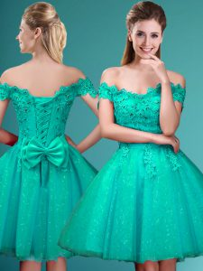 Fine Turquoise Cap Sleeves Tulle Lace Up Wedding Party Dress for Prom and Party
