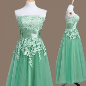 Fabulous Sleeveless Tulle Tea Length Lace Up Wedding Guest Dresses in Turquoise with Appliques