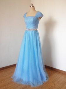 Cap Sleeves Tulle Floor Length Zipper Bridesmaid Gown in Baby Blue with Beading