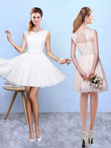 Spectacular White Sleeveless Lace and Appliques Knee Length Bridesmaids Dress