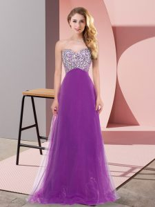 Most Popular Sleeveless Floor Length Beading Lace Up Wedding Guest Dresses with Eggplant Purple