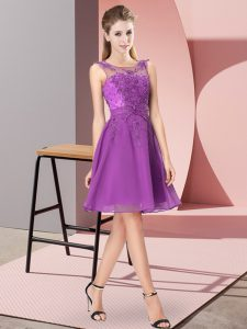 Scoop Sleeveless Wedding Party Dress Knee Length Appliques Eggplant Purple Chiffon