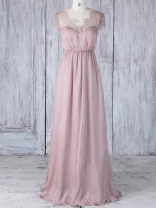 Pink Short Sleeves Chiffon Clasp Handle Bridesmaids Dress for Prom and Party and Wedding Party
