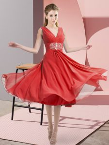 Low Price Coral Red Empire Chiffon V-neck Sleeveless Beading Knee Length Side Zipper Wedding Party Dress