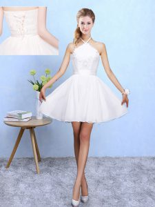 Captivating Sleeveless Lace Up Mini Length Lace and Appliques Wedding Party Dress