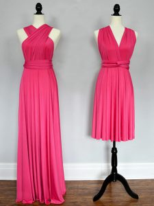 Floor Length Hot Pink Bridesmaid Dresses Halter Top Sleeveless Lace Up
