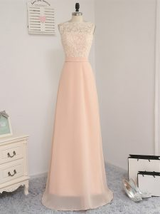 Dazzling Peach Backless Bateau Lace Bridesmaids Dress Chiffon Sleeveless