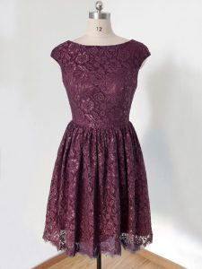 Glittering Knee Length Lace Up Bridesmaid Gown Dark Purple for Prom and Wedding Party with Lace