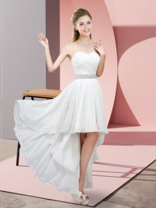 White Lace Up Sweetheart Beading Bridesmaid Gown Chiffon Sleeveless