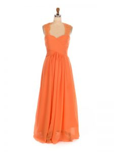 Orange Red Chiffon Lace Up Bridesmaids Dress Sleeveless Floor Length Lace