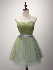 Sumptuous Olive Green Sweetheart Lace Up Beading and Ruching Bridesmaid Dresses Sleeveless