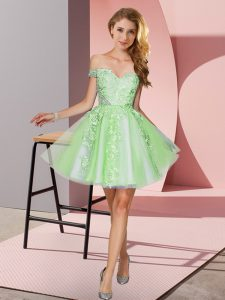 Sweet Apple Green Off The Shoulder Zipper Appliques Wedding Party Dress Sleeveless