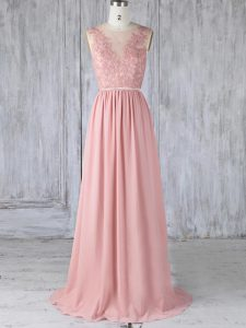 Graceful Sleeveless Sweep Train Appliques Backless Bridesmaids Dress