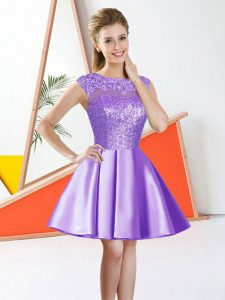 Artistic Beading and Lace and Sequins Wedding Party Dress Lavender Backless Sleeveless Knee Length