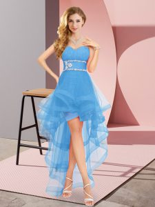 New Style Baby Blue Sleeveless Tulle Lace Up Bridesmaid Gown for Prom and Party and Wedding Party
