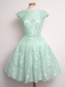 Enchanting Apple Green A-line Scalloped Sleeveless Lace Knee Length Lace Up Lace Wedding Guest Dresses