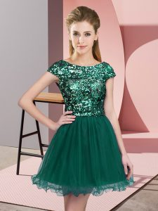 Dynamic Cap Sleeves Tulle Mini Length Zipper Wedding Guest Dresses in Turquoise with Sequins