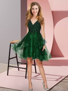 Nice Knee Length Backless Bridesmaid Dress Dark Green for Prom and Party and Wedding Party with Appliques and Ruffles