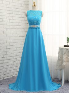 Glamorous Baby Blue Bateau Zipper Beading and Lace Wedding Guest Dresses Brush Train Sleeveless