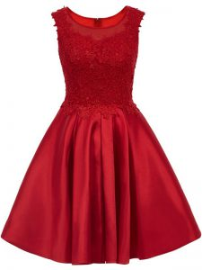 Colorful Wine Red Zipper Wedding Party Dress Lace Sleeveless Mini Length