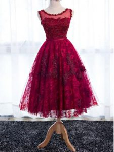 Fuchsia A-line Lace Scoop Sleeveless Lace Tea Length Zipper Wedding Party Dress