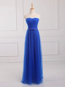 Modern Floor Length Royal Blue Bridesmaid Dresses Sweetheart Sleeveless Lace Up