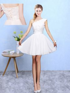 Glittering Sleeveless Chiffon Knee Length Lace Up Wedding Party Dress in White with Appliques