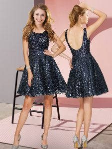 Navy Blue Sleeveless Mini Length Sequins Zipper Wedding Guest Dresses