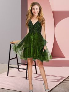 Best Selling Knee Length Olive Green Bridesmaid Dresses Tulle Sleeveless Appliques and Ruffles