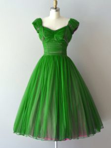 Green A-line Ruching Bridesmaid Dresses Lace Up Chiffon Cap Sleeves Knee Length