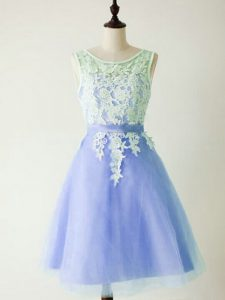 Fashion Knee Length Lace Up Bridesmaid Dresses Light Blue for Prom and Party and Wedding Party with Lace