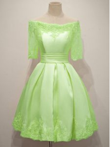 Artistic Lace Wedding Guest Dresses Yellow Green Lace Up Half Sleeves Knee Length