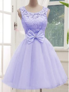 Colorful Lavender Scoop Lace Up Lace and Bowknot Bridesmaid Dresses Sleeveless