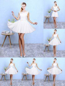 Free and Easy White A-line Scoop Sleeveless Chiffon Knee Length Lace Up Lace and Appliques Wedding Party Dress