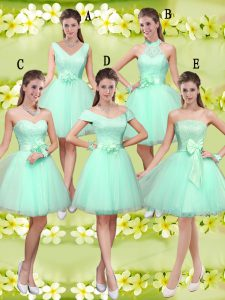 Fantastic Apple Green Tulle Lace Up V-neck Sleeveless Knee Length Bridesmaid Dresses Lace and Belt