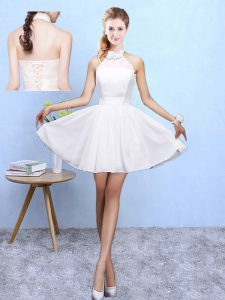 Fitting White A-line Halter Top Sleeveless Chiffon Knee Length Lace Up Lace Wedding Guest Dresses