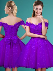 Tulle Off The Shoulder Cap Sleeves Lace Up Lace and Belt Wedding Guest Dresses in Eggplant Purple
