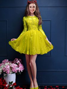 High Quality Yellow Bridesmaid Dresses Prom and Party with Beading and Lace and Appliques Scalloped 3 4 Length Sleeve Lace Up