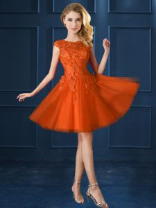 Orange Red Cap Sleeves Knee Length Lace and Belt Lace Up Bridesmaids Dress