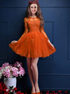 Luxury 3 4 Length Sleeve Beading and Lace and Appliques Lace Up Bridesmaid Dress