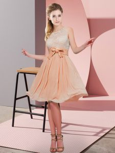 Scoop Sleeveless Bridesmaid Dress Knee Length Lace and Bowknot Orange Red Chiffon
