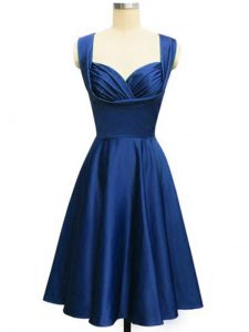 Royal Blue Sleeveless Knee Length Ruching Lace Up Bridesmaid Dress