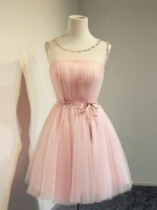 Knee Length Baby Pink Wedding Guest Dresses Tulle Long Sleeves Belt
