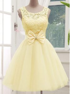 Custom Designed Lace and Bowknot Bridesmaid Dresses Light Yellow Lace Up Sleeveless Knee Length