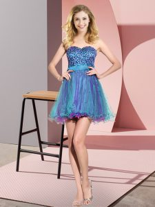 Sleeveless Tulle Mini Length Lace Up Bridesmaid Gown in Multi-color with Beading and Sequins