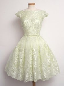 Gorgeous Light Yellow Scalloped Lace Up Lace Bridesmaid Dresses Cap Sleeves