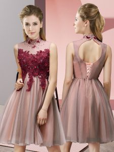 High-neck Sleeveless Wedding Guest Dresses Knee Length Appliques Peach Tulle