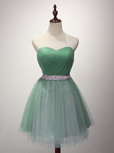 Vintage Green Sweetheart Neckline Beading and Ruching Bridesmaid Gown Sleeveless Lace Up
