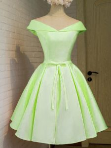 High Class Cap Sleeves Taffeta Knee Length Lace Up Bridesmaid Dress in Yellow Green with Belt