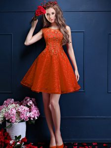 Orange Red Sleeveless Knee Length Beading and Lace Lace Up Bridesmaids Dress